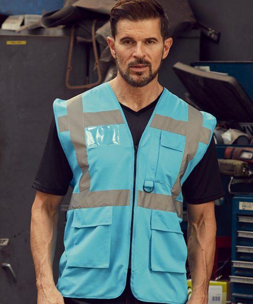 Warnweste Fluo mit Taschen & Reißverschluss